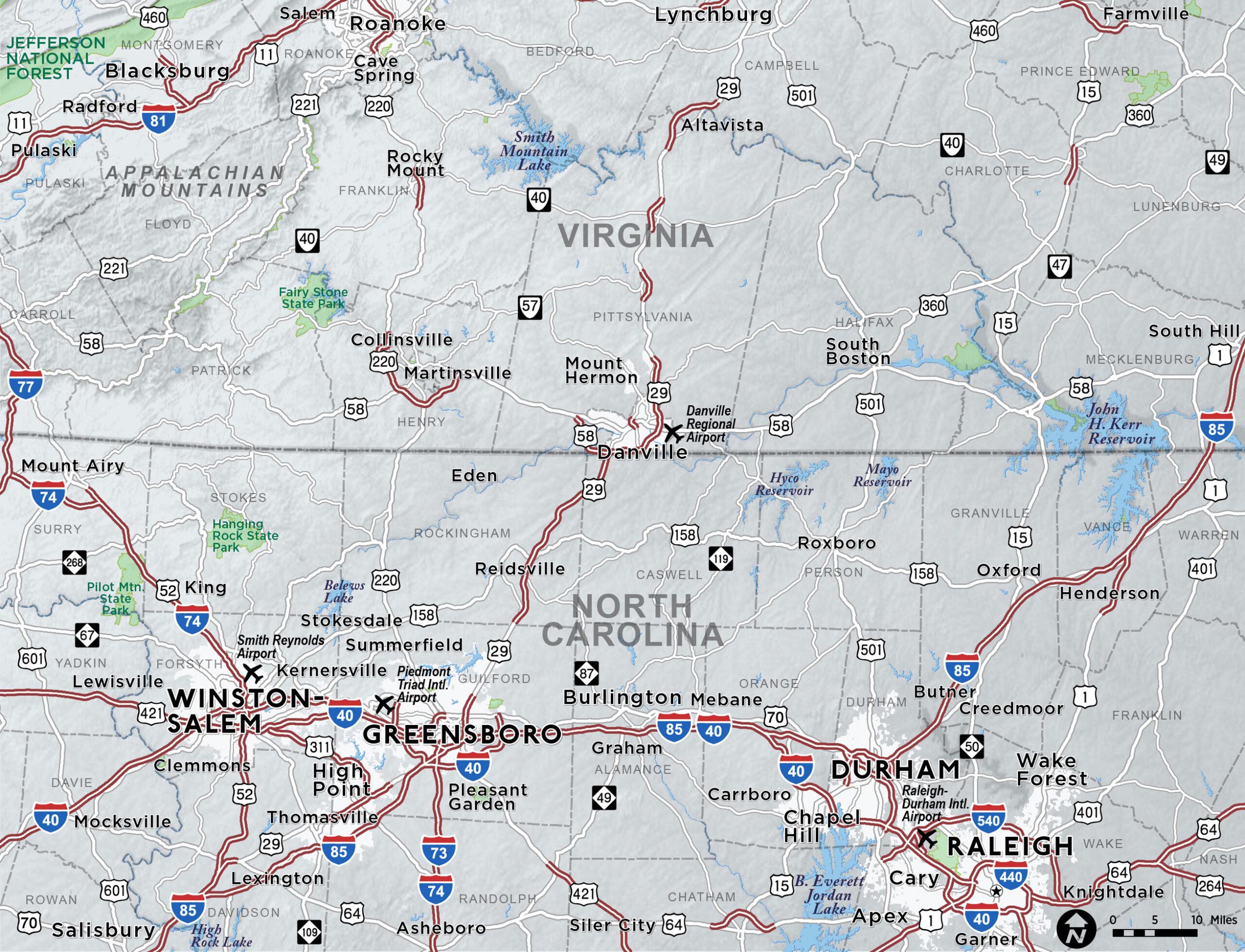 North Carolina/Virginia Border Map